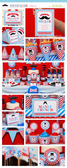 Mustache Birthday Party Package Personalized Printable Design by leelaaloo.com