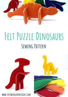 Sew your own Felt Puzzle Dinosaurs from this easy sewing pattern. The pieces can be mixed and matched to create more possibilities - fun for all ages! Together with a little drawstring bag, they make a super sweet handmade gift too! Sewing Toys, Baby Sewing, Free Sewing, Easy Sewing Patterns, Felt Patterns, Dinosaur Pattern, Textiles, Leftover Fabric, Sewing Projects For Beginners