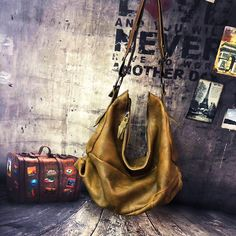Vintage Genuine Leather Women's Hobos Bag Half Moon Random Patchwork Colorful Big Shoulder Bags 45*38Cm Leather Handbags, Leather Bag, Leather Shoulder Bag, Shoulder Bags, Slouch Bags, Big Shoulders, Natural Leather, Hobo Bag, Cowhide Leather