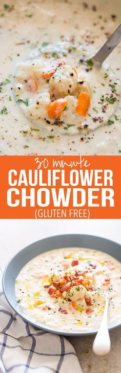 Creamy Cauliflower Chowder is a healthy, easy, comfort food recipe and ready in under 30 minutes. Gluten free, low carb and keto friendly.
