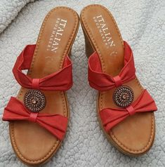 84627a1124c Italian Shoemakers Amani Orange High Heeled Espadrilles Women s Size 9   fashion  clothing  shoes