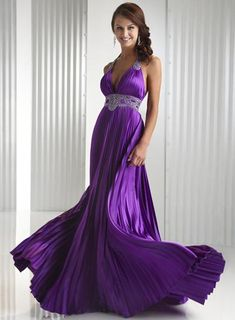 gowns and dresses | Purple V-neck Halter Pleated Beaded Prom Gown Evening Dress | PRLog