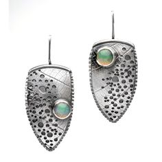 Ethiopian Opal and Sterling Silver Dangle by hammeredbywendy