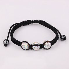 AB Crystal Shamballa Bracelet 10MM Disco Magnetite Ball by Youchic, $5.02