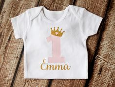 First Birthday Onesie, 1st Birthday Shirt, First Birthday Outfit, Personalized, Princess Crown,Girls Gold Pink Princess Onesie, 2nd Birthday by pinkblossomdesignco on Etsy https://www.etsy.com/listing/233427381/first-birthday-onesie-1st-birthday-shirt
