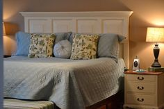turn old door into a headboard