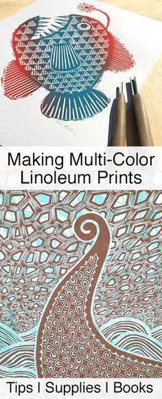 Techniques for making multi-color linoleum prints. Plus, relief printmaking, tutorials, tips and books. By Boarding All Rows.