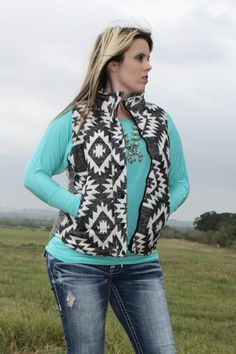 Black White Aztec Tribal Vest | The Texas Cowgirl