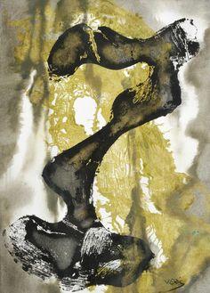 Jaroslav Veris - Surrealist Composition, mixed media on paper