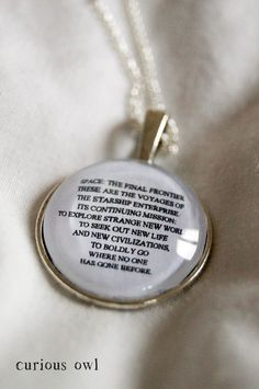 These Are The Voyages Of The Starship Enterprise - Star Trek Fandom Necklace (Curious Owl) on Etsy, $16.92