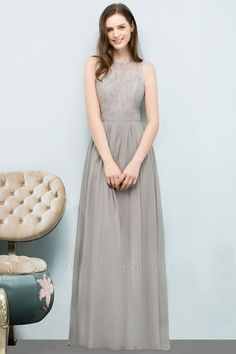 A-line Lace Jewel Sleeveless Floor-Length Bridesmaid Dresses | Yesbabyonline.com
