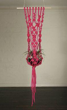 hot pink macrame pot hanging - love!
