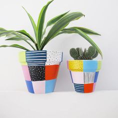 A hand painted plant pot with bright, patchwork design. A wonderful home for any plant! Measures 11cm high x 11cm top diameter. Sealed and treated for both water and UV protection and safe for planting. All pots have drainage holes. All these plant pots are individually hand