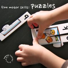 Playing with puzzles is fine motor skills activity that can easily be changed to suit all ages and skills.