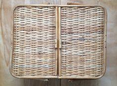Vintage Picnic Basket, Wicker, Large, Bamboo