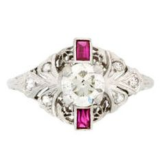 Art Deco Ruby Diamond Gold Filigree Engagement Ring