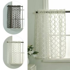 Free 2-day shipping. Buy Sheer Kitchen Tiers Curtains Rhombus Jacquard Short Half Window Drapes Valance Home Decoration at Walmart.com Half Curtains, Short Curtains, Tier Curtains, Sheer Drapes, Window Drapes, Modern Kitchen Curtains, Kitchen Curtain Sets, Magnetic Curtain