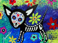 Dia de los Muertos folk painting.