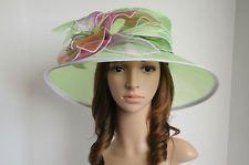 NEN Church Kentucky Derby Organza & Multi-Colored Flower Green Hat
