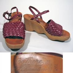 70s Famolare Go There Plum Leather Woven Wavy Gum by JoulesVintage