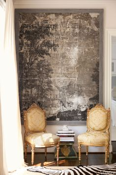 19th-c. wallpaper panels, Linda Horsely Antiques. Antique French chairs in Vervain silk. - Suellen Gregory Design - @Veranda Magazine