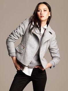 Boiled Wool Moto Jacket Product Image