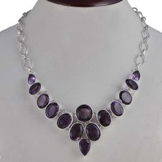 LATEST STYLE 925 STERLING SILVER FANCY AMETHYST CUT NECKLACE 57.75g NK0072 #Handmade #NECKLACE