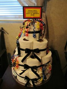 Over The Hill Toilet Paper Cake l made instead of the Dpends. To this is less offensive.
