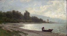 Motiv fra Mjøsa. Otto Sinding. 1877. Digitalt Museum Nasjonalmuseet. Falt i det fri (Public domain)