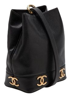 Chanel Vintage | Black Caviar Leather Bucket Bag - from a collection between 1991-1994 - Farfetch.com