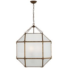 Dingn Room: Suzanne Kasler Morris Lantern - Gilded Iron with Clear Glass