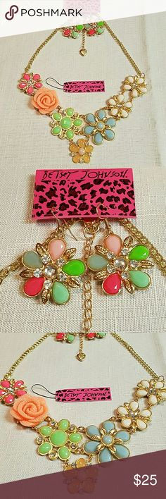 Stunning statement necklace and earring set Gorgeous Betsey Johnson Flower and Crystal statement necklace and earrings set. Absolutely beautiful period necklace is 18 inches long with a 2 inch extension. Gold tone Betsey Johnson Jewelry Necklaces