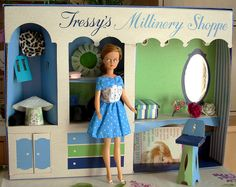 A dream that came true this week, with the Beauty Salon. Tressy wears a thousand hats ! Paper Doll House, Paper Dolls, Sindy Doll, Doll Toys, Vintage Barbie, Vintage Dolls, Baby Boomer Era, 1970s Dolls, Dressing Rooms