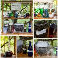 Drinks table - These DIY Potions Decorations are ideal props for a Harry Potter party. Harry Potter Halloween, Harry Potter Snacks, Harry Potter Potions, Harry Potter Birthday, 6th Birthday Parties, Birthday Ideas, 9th Birthday, Halloween Birthday, Halloween 2020