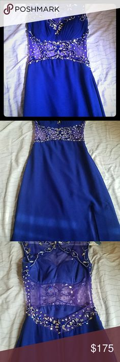 Prom dress Color: Royale Blue. Open back, detailed beading with a padded bra area. The slit comes up to the bottom of mid thigh (5'10'). & Other Stories Dresses Prom