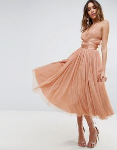 ASOS | ASOS PREMIUM Tulle Midi Prom Dress With Ribbon Ties