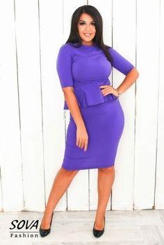 Костюм стильный юбочный большой размер с баской фиолетовый