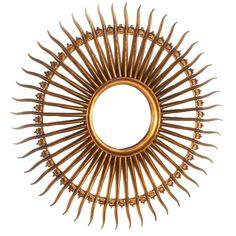 Gilded iron soleil mirror, c. Sunburst Mirror, Mirrors, Mid Century, Iron, Vase, Interior Design, Antiques, Showers, Inspiration