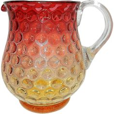 Antique Victorian Amberina Art Glass Inverted Baby Thumbprint Pitcher Applied Reeded Handle