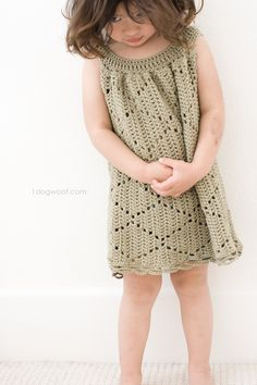 The Summer Diamonds Toddler Dress is a modern, lightweight tunic dress crocheted using a diamond motif and a unique perspective on construction.