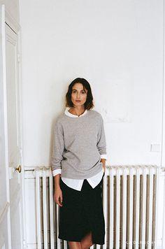 Fashion Story: The Interlude R13 / Oversized Shirt R13 / Kate Sweatshirt  Apiece Apart / Paulina Paperbag Slit Skirt
