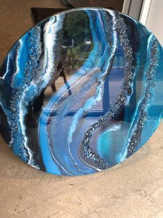 Excited to share this item from my shop: Blue teal white navy with glass glitter ocean geode round resin painting on wood panel beachhouse wave