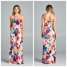 STUNNING FLORAL STRAPLESS MAXI DRESS This Maxi is stunning! It's white with a Floral print. The Dress is strapless & features an empire waist. 2 front pockets. This is a summer must have & will be a head turner! Sizes S, M, L. Polyester/Spandex. No trades. Price is firm unless bundled. Dresses Maxi