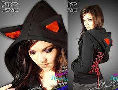 Orejas de gato negro con capucha rojo corsé kawaii