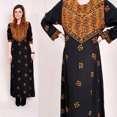 Vintage 70s BLACK and GOLD Maxi Dress - black cotton, gold tribal pattern, hand beading and sequins - FREE Worldwide Shipping. $122.00, via Etsy.