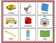 FREEBIE: School themed flash cards are great for your ELL students!