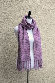Hand woven scarf in lilac violet lavender long scarf with fringe