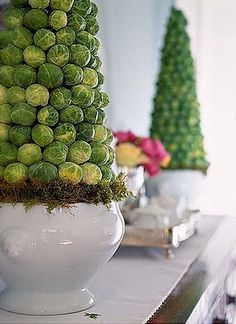 brussel sprouts topiary - best use of these little boogers!  Try as I might, we just don't like the taste of them, but this would be fun  :)