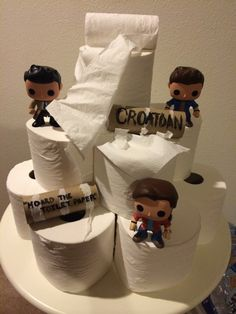 """Supernatural ~ Croatoan Day- The End -""""Hoard the toilet paper!"""" - - This is funny. Thank you too whomever came up with this brilliant idea and for sharing the pic. Supernatural Birthday, Supernatural Finale, Supernatural Party, Supernatural Crafts, 16th Birthday, Castiel, Superwholock, Geek Stuff, Fandoms"""