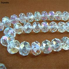 $6.00-- 18mmm --8pc.. AB White Color Rondelle Austria faceted Crystal Glass Beads Loose Spacer Round Beads